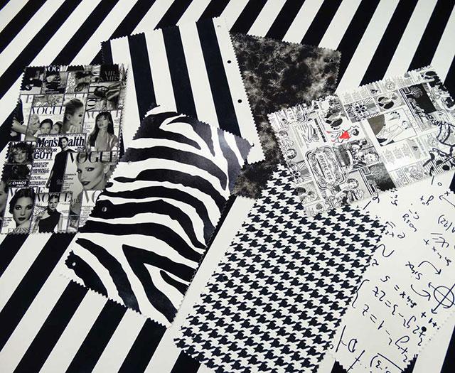 Pals mintás fekete-fehér műbőr